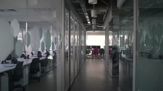 Interior of modern office empty Interior of modern office empty office cubicle stock videos & royalty-free footage