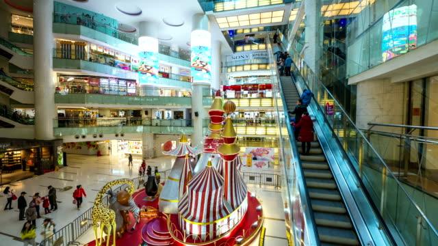 내륙발 현대적인 쇼핑 몰, 저속 촬영 - 성찬 미사 스톡 비디오 및 b-롤 화면