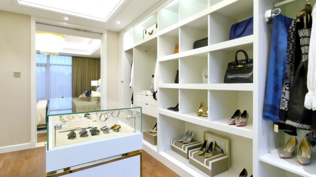 interior of modern wardrobe video