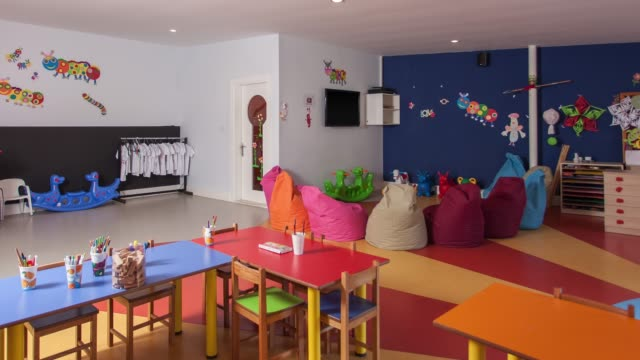 Interior of preschool kindergarten Interior of preschool kindergarten playroom stock videos & royalty-free footage