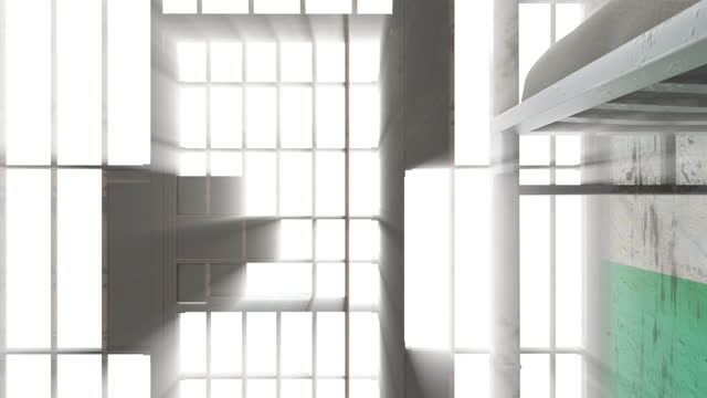 Interior of prison room inside with shine rays, computer generated. 3d rendering grunge background