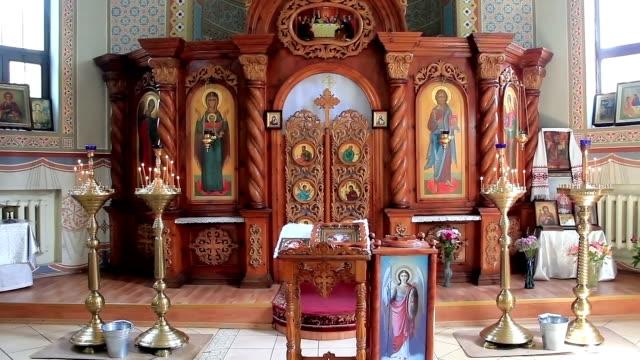 Interior of small orthodox church video