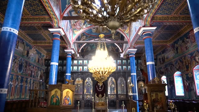 Interior of the Orthodox Christian Church Interior of the Orthodox Christian Church church architecture stock videos & royalty-free footage