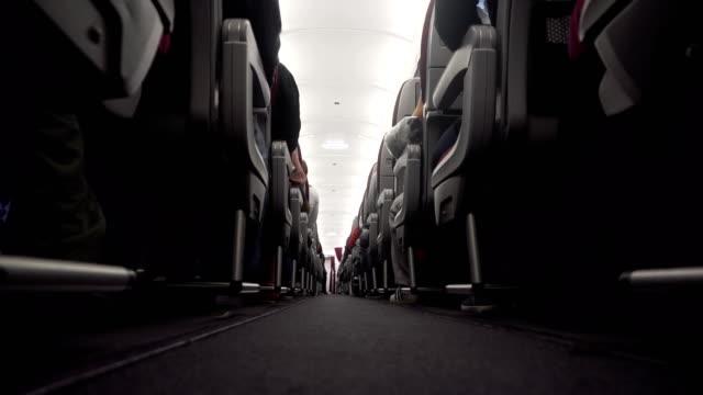 Interior of the passenger airplane video
