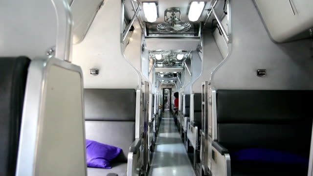 interior of train public transportation in thailand - 城際車 個影片檔及 b 捲影像