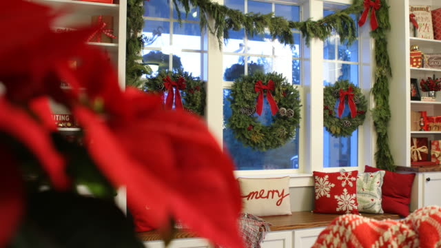 Interior shot of home decorated for Christmas video