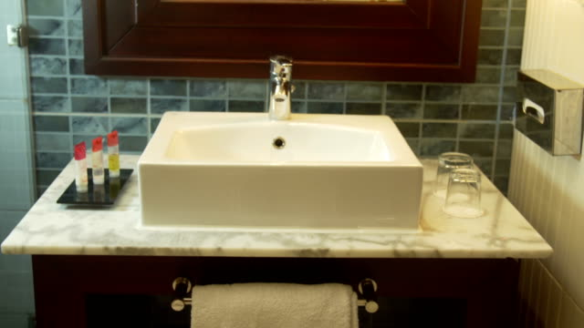 Interior view of a modern bathroom and washbasin video