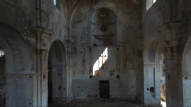interior view of abandoned and damaged church - gothic architecture stock videos & royalty-free footage