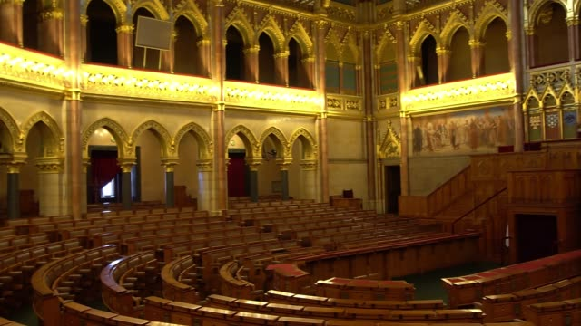 BUDAPEST, HUNGARY - MAY 8, 2018: Interior view of Parliament Building. BUDAPEST, HUNGARY - MAY 8, 2018: Interior view of Parliament Building. The building was completed in 1905 and is in Gothic Revival style. hungary stock videos & royalty-free footage