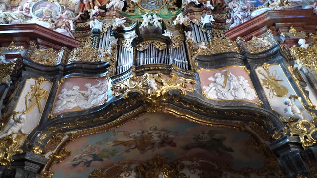 Interior View of the mission Church in Wilhering, Upper Austria