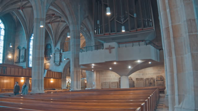 interior view of the stiftskirche st. george's collegiate church - cathedrals stock videos & royalty-free footage