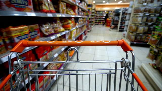 Interiror of modern Supermarket. Blured motion. video