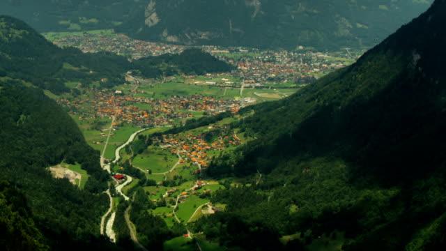 Interlaken city, alpine valley and stream time lapse video