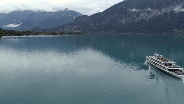 interlaken tour boat on the blue waters - passenger craft stock videos & royalty-free footage