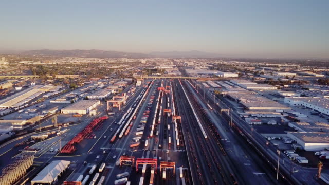 Intermodal Freight Train Yard, Vernon, CA - Aerial View video