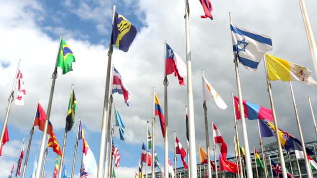 International flags and office building video