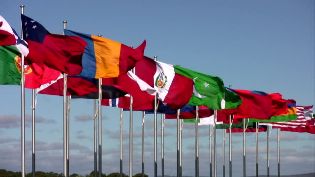 International Flags Blowing against Blue Sky video