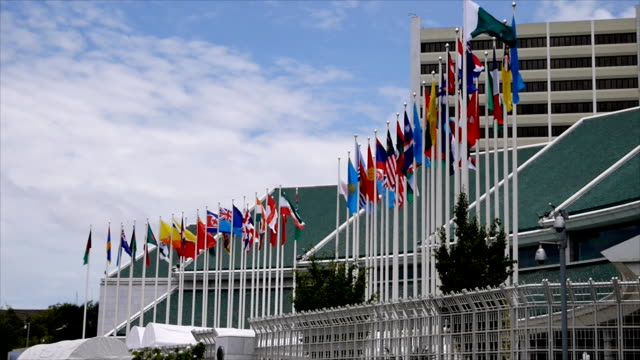 International flags fluttering at UN and Affiliated Agencies in Bangkok video