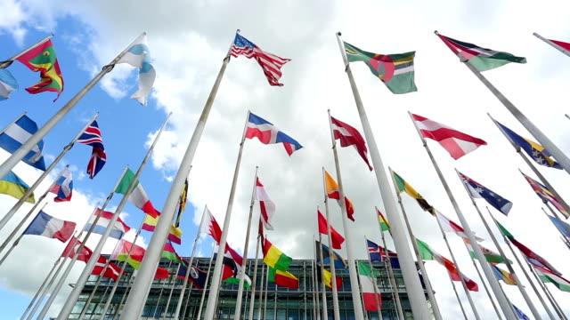 bandiere internazionali davanti a un edificio commerciale - bandiera nazionale video stock e b–roll