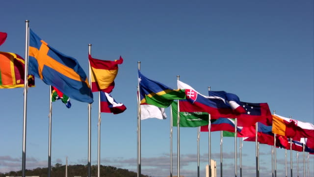 International flags, National flags, blowing in the wind, video