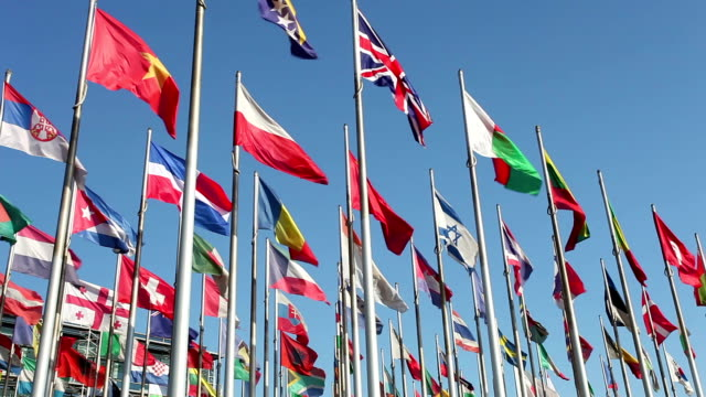 international flags - globalization stock videos and b-roll footage