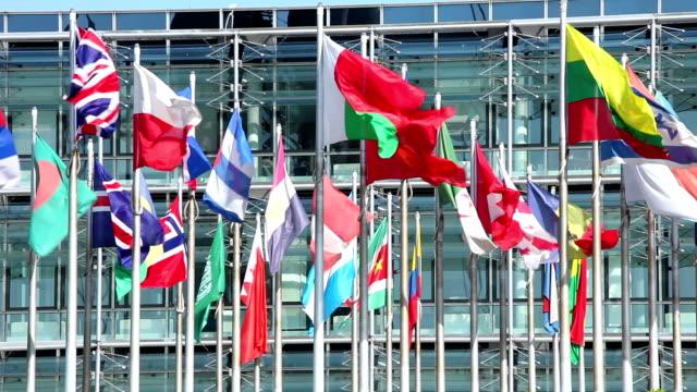 bandiere internazionali - bandiera nazionale video stock e b–roll