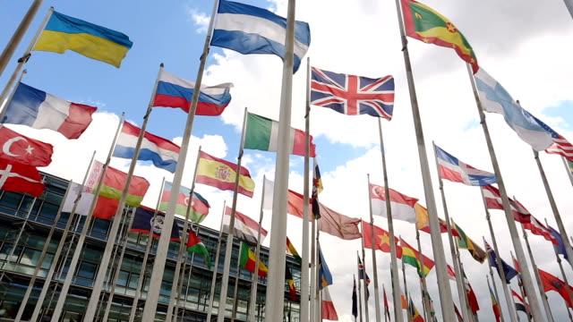 international flags - europäische union stock-videos und b-roll-filmmaterial