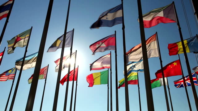 International flags with sunlight video