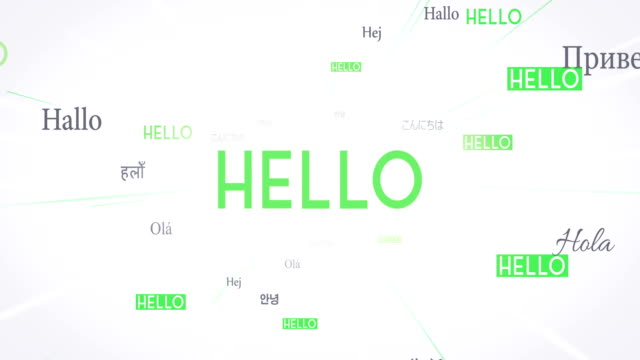 International HELLO Words Flying Towards Camera (White) - Loop video