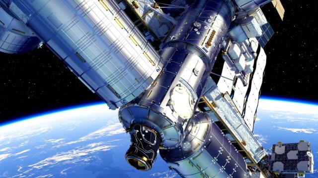 4K. International Space Station Orbiting Planet Earth. 4K. International Space Station Orbiting Planet Earth. 3D Animation. space exploration stock videos & royalty-free footage