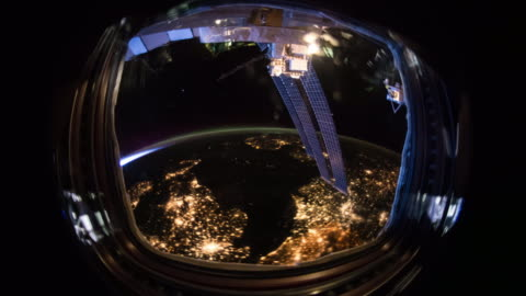 International Space Station (ISS) porthole Image courtesy of the Earth Science and Remote Sensing Unit, NASA Johnson Space Center. digital composite stock videos & royalty-free footage