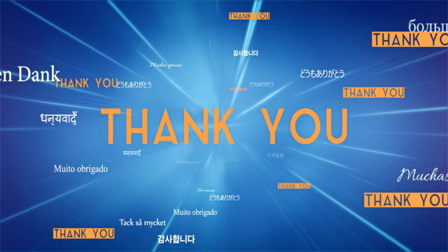 International THANK YOU Words Flying Towards Camera (Blue) - Loop