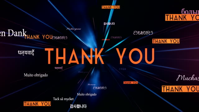 International THANK YOU Words Flying Towards Camera (Black) - Loop Animation of THANK YOU words in different languages, perfectly usable for international events or global topics. thank you stock videos & royalty-free footage
