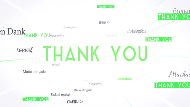 International THANK YOU Words Flying Towards Camera (White) - Loop video