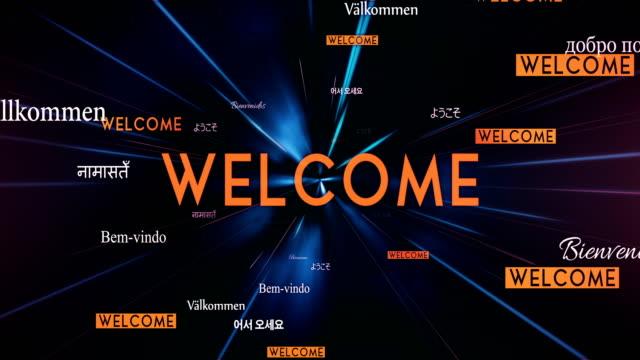 International WELCOME Words Flying Towards Camera (Black) - Loop