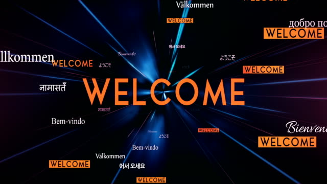 International WELCOME Words Flying Towards Camera (Black) - Loop video