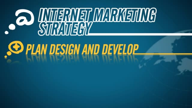 Internet Marketing Strategy video illustration on blue in HD