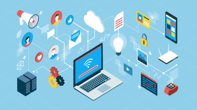 Internet, networks and social media Internet, communication, social media and data transfer; isometric network of concepts email icon stock videos & royalty-free footage