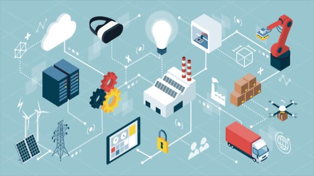 internet of things and smart industry - rivoluzione industriale video stock e b–roll