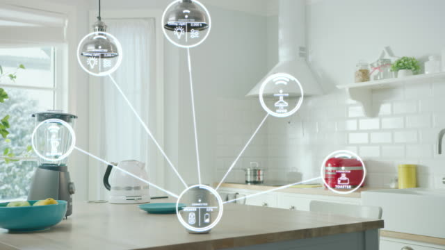 Internet of Things Concept: Modern Kitchen full of High-Tech Kitchen Appliances with IOT, Infographics Show Various Data and Information. Digitalization, Visualization of Home Electronics Devices