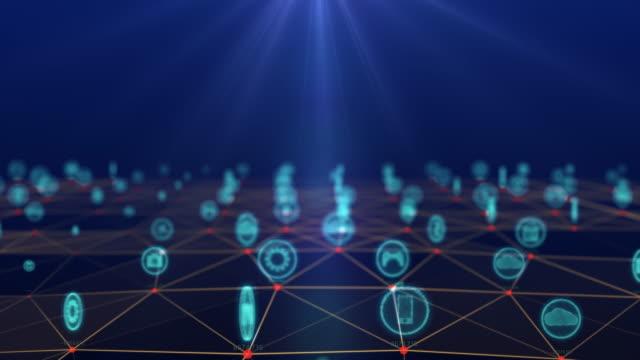 モノのインターネット概念、3d空間のドットに接続するソーシャルアイコン.情報通信ネットワーク.技術概念 - 生態系点の映像素材/bロール
