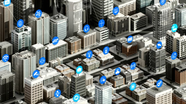 Internet of things icon on Smart city, Building concept. 4K movie. Internet of things icon on Smart city, Building concept. 4K size movie. independence stock videos & royalty-free footage
