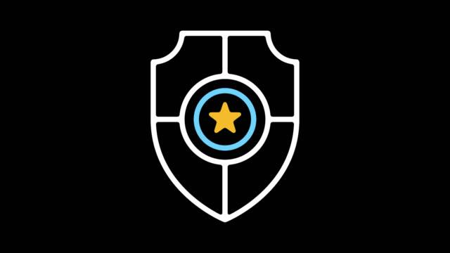 vídeos y material grabado en eventos de stock de internet seguridad línea icono animación con alfa - shield