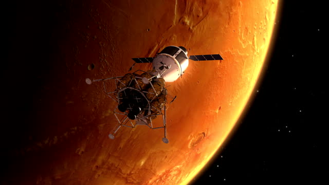 Interplanetary Space Station Orbiting Mars video