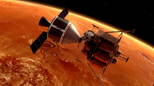 Interplanetary Space Station Orbiting Planet Mars video