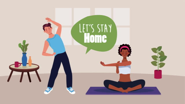 Bидео interracial couple practicing yoga and exercise in home for covid19 prevention method