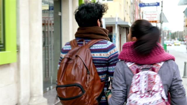 Interracial couple walking video