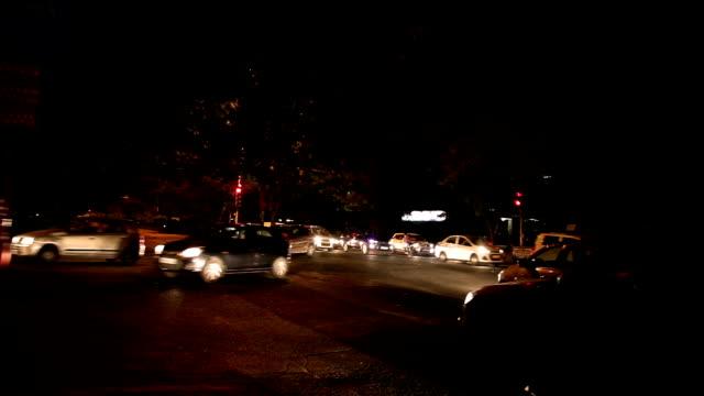 Intersection Traffic At Night, Delhi video
