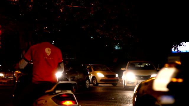 Intersection Traffic At Night, Delhi (Visible Audio) video
