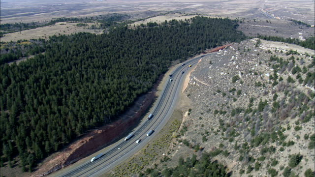 Interstate 80 Dropping Down Towards Laramie  - Aerial View - Wyoming, Albany County, United States video